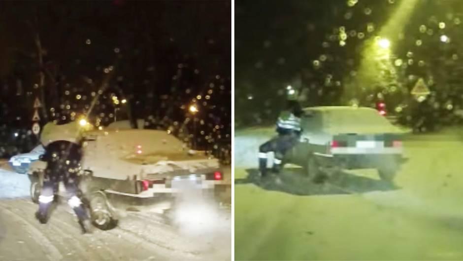 Russland: Polizist stoppt betrunkenen Autofahrer hollywoodreif
