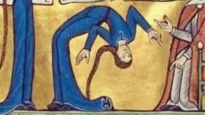 Lustiger Twitter-Account: Bild aus dem Mittelalter mit Frau, die sich verrenkt