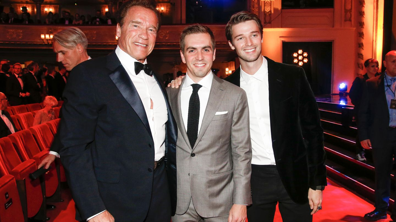 Arnold Schwarzenegger, Philipp Lahm, Patrick Schwarzenegger