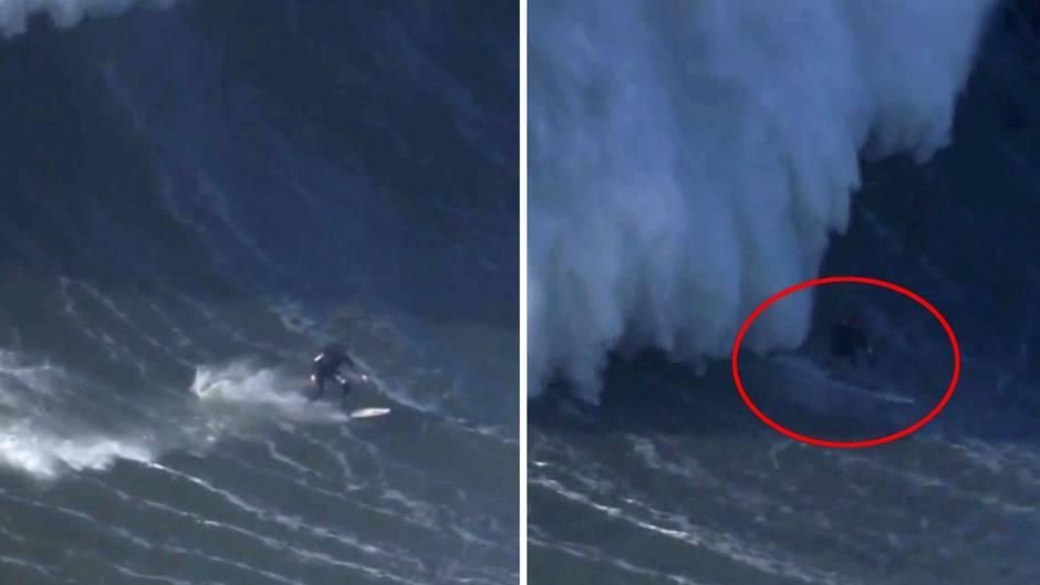 Portugal: Surfer bricht sich bei Sturz in gigantischer Welle den Rücken