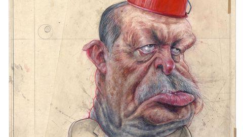 """Geflügelter Bleistift in Gold  Frank Hoppman  """"Erdogan"""""""