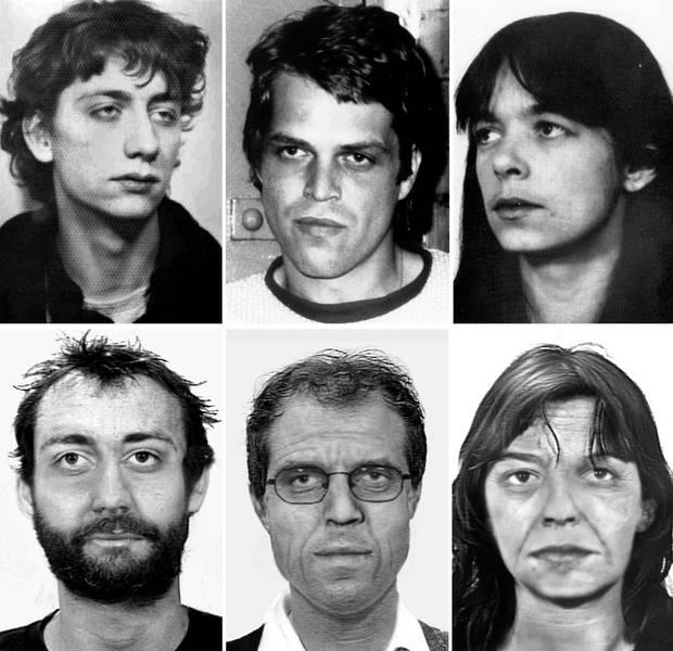 Fahndungsfotos (oben) und Alterssimulationen (unten) von Burkhard Garweg, Ernst-Volker Wilhelm Staub und Daniela Klette