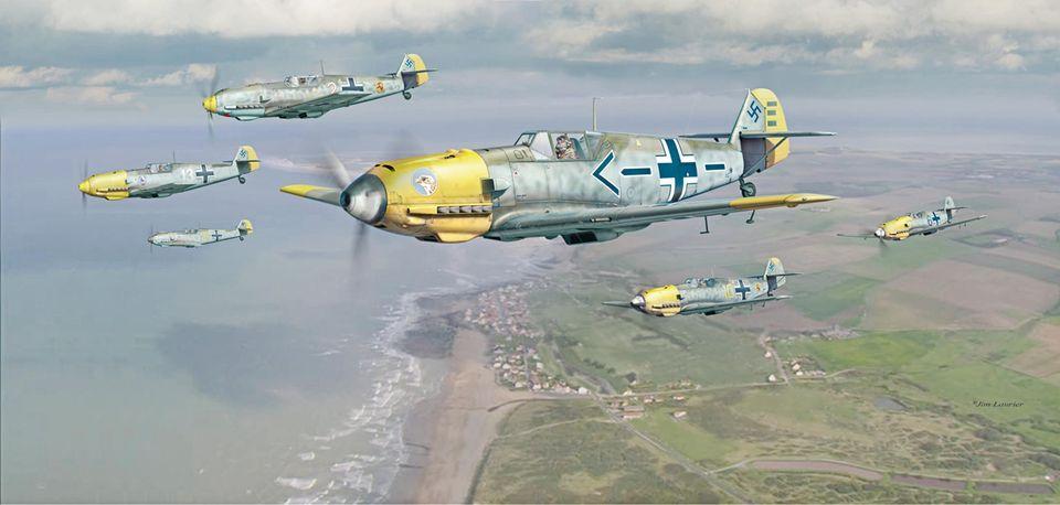 Luftschlacht um England: Eine Gruppe von Messerschmidt Bf 109E fliegt über den Ärmelkanal. Es folgte die erste große Niederlage der deutschen Luftwaffe.