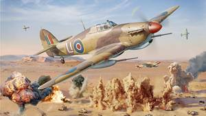 Die Hawker Hurricane Mk IID ist als Panzerknacker mit 400-mm-Kanonen ausgerüstet. Hier greift eine Staffel Truppen des deutschen Afrikakorps an.