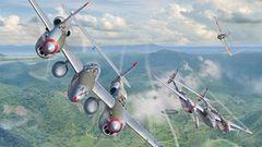Die zweimotorige P-38 Lightning galt als technisch schwierig zu fliegen. Das Bild zeigt den Moment kurz bevor Tommy McGuire versucht, vor dem Japaner Akira Sugimoto auszubrechen. Wegen der Zusatztanks schmierte seine P-38 bei dem Manöver ab. So möglichte es McGuireseinem Wingman zu entkommen.