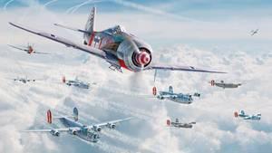 Diese Illustration zeigt einen Moment kurz bevor eine P-51 die Fw-190A-8 des erfolgreichen Jägers Klaus Bretschneiders über Kassel unter Feuer nahm und abschoss.