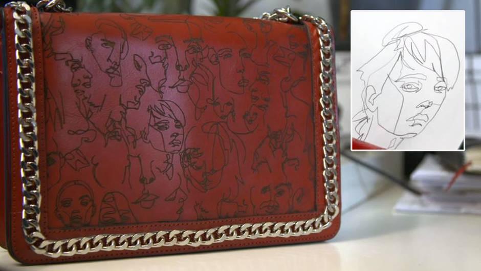 """Die Prägungen auf der Tasche von """"Zara"""" entsprechen bis in kleinste Details den Zeichnungen des Künstlers Boris Schmitz."""