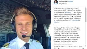 """Als """"pilotpatrick"""" postet der 30-Jährige auf Instagram"""