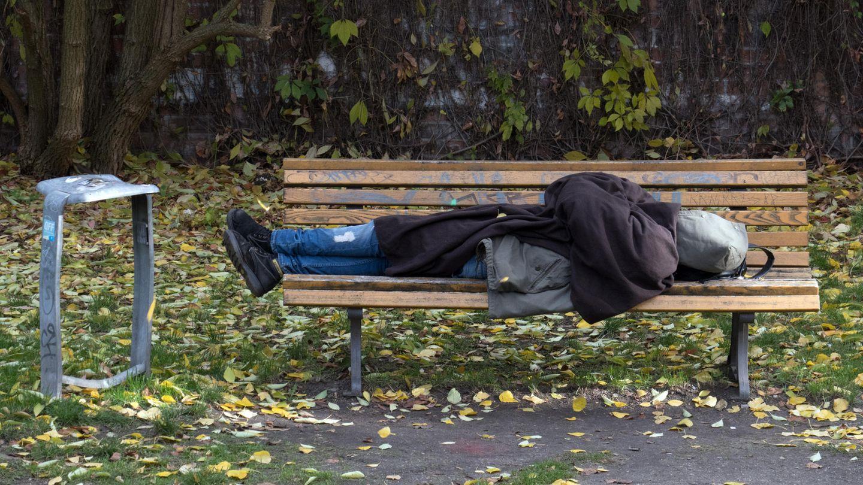 Steigende Wohnungslosigkeit: Ein Obdachloser in Berlin schläft auf einer Parkbank
