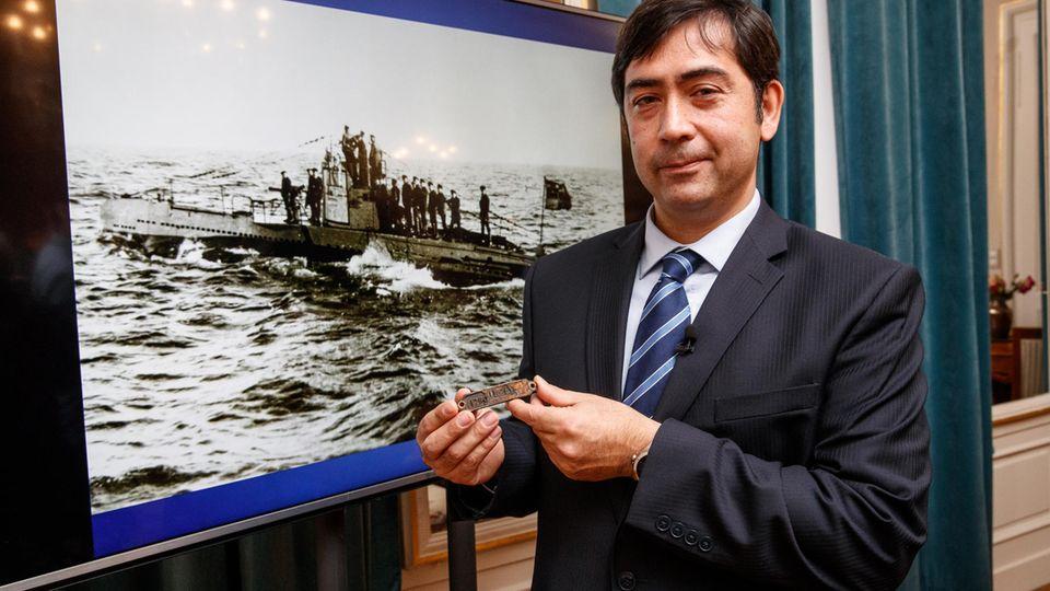 Deutsches U-Boot vor Belgien Plakette