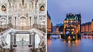 Collage: Schloss Augustusburg und Hamburger Speicherstadt