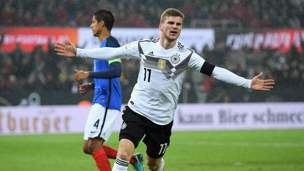 Timo Werner erzielt das 1:1 für Deutschland im Länderspiel gegen Frankreich