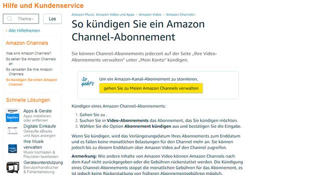 amazon channel hilfe wie werde ich das abo wieder los eine odyssey durch den kundenservice. Black Bedroom Furniture Sets. Home Design Ideas