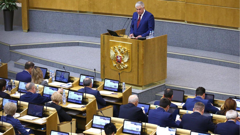 Innenminister Vladimir Kolokoltsev spricht zum Parlament in Moskau, Russland