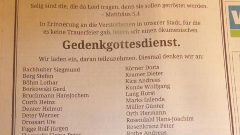 Aktion der Stadt Wuppertal: Eine Traueranzeige für die 47 einsamen Toten