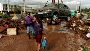 Chaos und Zerstörung nach tagelangen Regenfluten in der griechischen Stadt Mandra