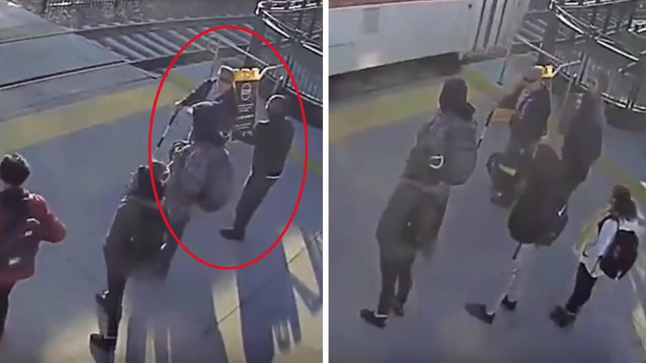 In letzter Sekunde: Passant rettet blinden Mann vor herannahendem Zug
