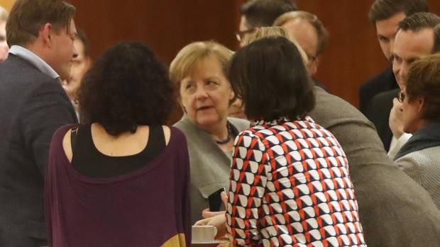 Bundeskanzlerin Merkel während der Jamaika-Sondierungen am Sonntag in der Landesvertretung von Baden-Württemberg in Berlin
