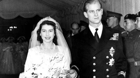 Queen Elizabeth II. und Prinz Philip an ihrem Hochzeitstag am 20.11.1947 in London