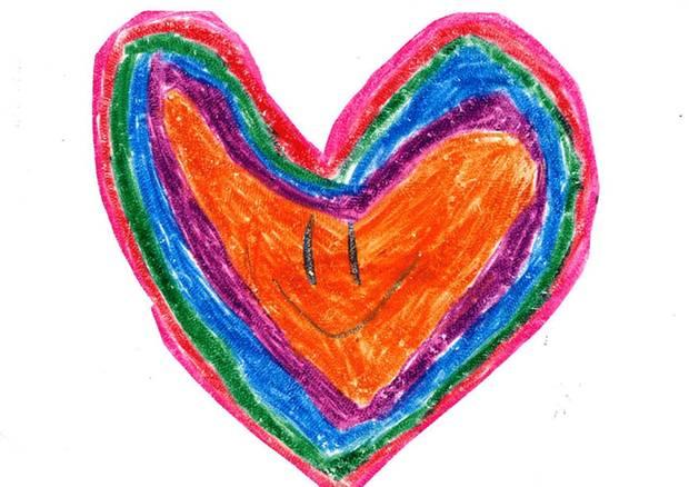 Ein gemaltes Herz als Dankeschön für den Paten