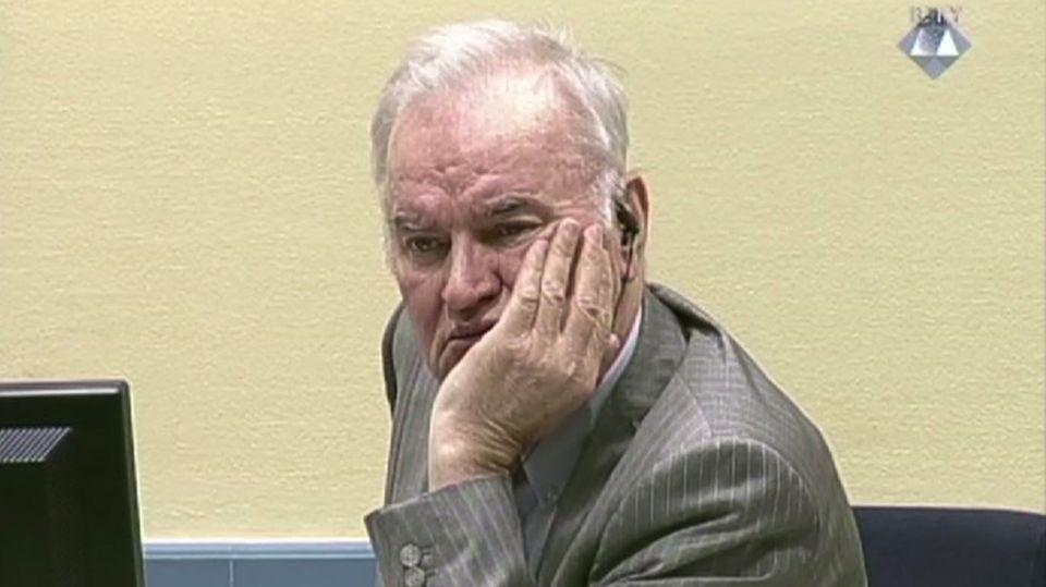 Ratko Mladic sitzt im Gerichtssaal der UN-Kriegsverbrechertribunals