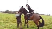 Eine Reiterin in traditioneller Kleidung sitzt auf ihrem braunen Pferd, das ein Mann am Zügel hält. Sie hält ihre Gerte über den