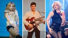 Eine Bilder-Kombo zeigt die Popstars Madonna, Elvis Presley und Lady Gaga nebeneinander
