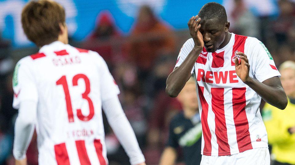Wieder kein Tor, wieder keine Punkte: Die Kölner Spieler Guirassy (re.) und Osako während der 0:2-Pleite gegen Hertha BSC.