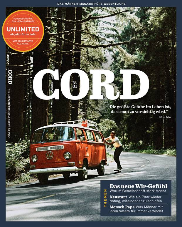 Das neue Männer-Magazin CORD erscheint am 28.11.2017, der Verkaufspreis liegt bei 8,50 Euro. Weitere Informationen gibt es hier: www.cord-magazin.de