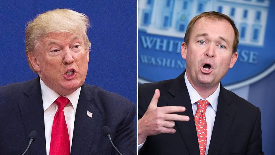 Donald Trump (l.) und Mick Mulvaney