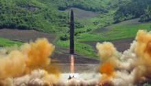 Im Juli verbreitete das nordkoreanische Militär Bilder vom Start der Hwasong-14.