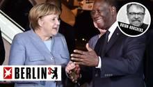 Angela Merkel im Gespräch mit dem Präsidenten der Elfenbeinküste Alassane Ouattara