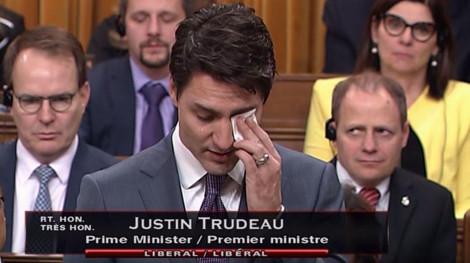 Kanadas Premierminister Justin Trudeau bei seiner Rede im Parlament in Ottawa