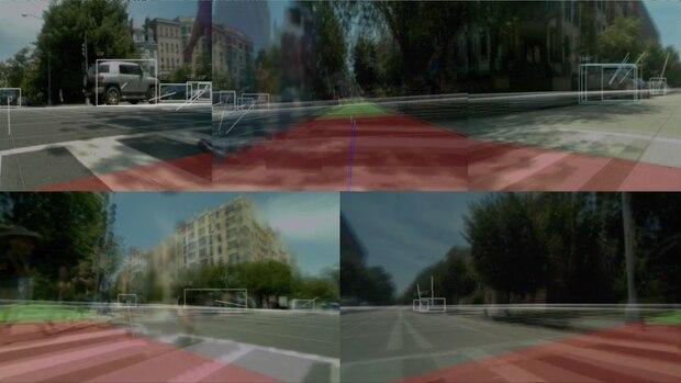 Blick durch die Kameras eines Lieferroboters