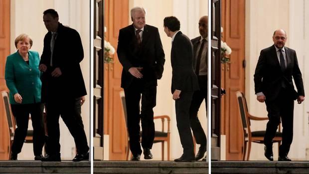 Nach dem Gespräch bei Bundespräsident Steinmeier verlassen Merkel, Seehofer und Schulz Schloss Bellevue einzeln