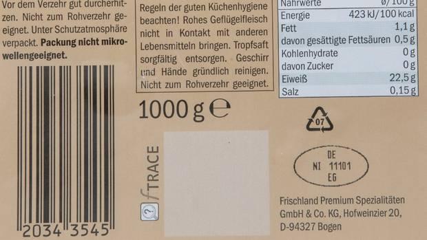 rückruf produktwarnungen - hähnchenfilet rückseite