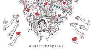 """Zeichnung für die Aktion """"Hilfe für Andreas"""""""