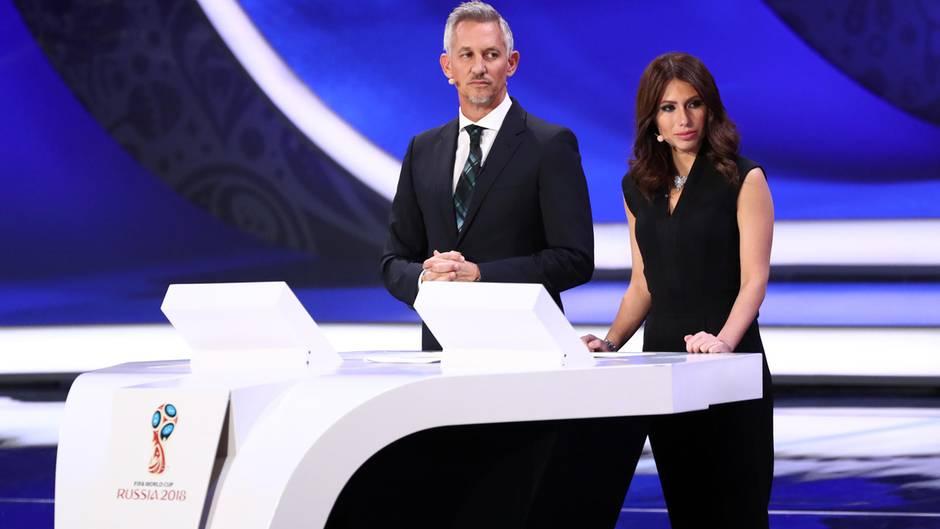 WM-Auslosung in Moskau: Garry Lineker und Maria Komandnaja moderierten