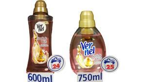 """Die neue Version des Weichspülers """"Vernel Soft & Oils"""" (links) hat deutlich weniger Inhalt, kostet aber mehr. Auf den Liter gerechnet zahlt der Kunde laut Verbraucherzentrale Hamburg 67 Prozent (bei Real) oder sogar 99 Prozent (Rewe) mehr. Hersteller Henkel aber rechnet anders: Wegen der """"erhöhten Parfümkonzentration"""" wurde die Dosierempfehlung gesenkt, sodassder Inhalt für fast genauso viele Waschladungen reichen soll. Ob der Verbraucher wirklich sparsamer mit dem Weichspüler umgeht? Die Dosierkappe ist jedenfalls gleich groß geblieben."""