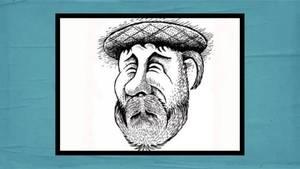 Zeichnung eines Mannes mit Mütze und Bart.