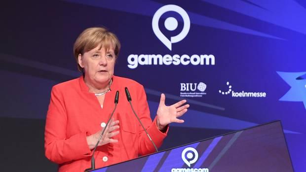 """Bundeskanzlerin Angela Merkel bei ihrer Rede zur Eröffnung der """"gamescom"""""""