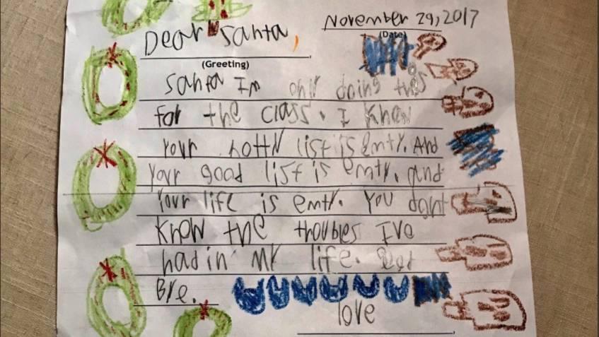 Der abfotografierte Brief mit Adventskränzen und Totenköpfen