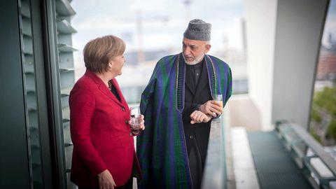 Hamid Karzai mit Angela Merkel