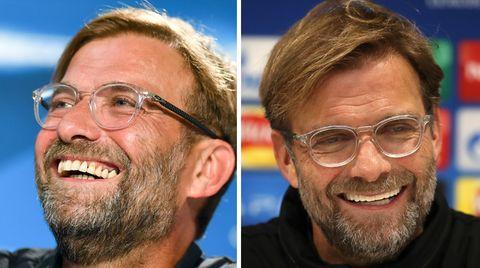 Liverpool-Trainer Jürgen Klopp links im August und rechts am Dienstag