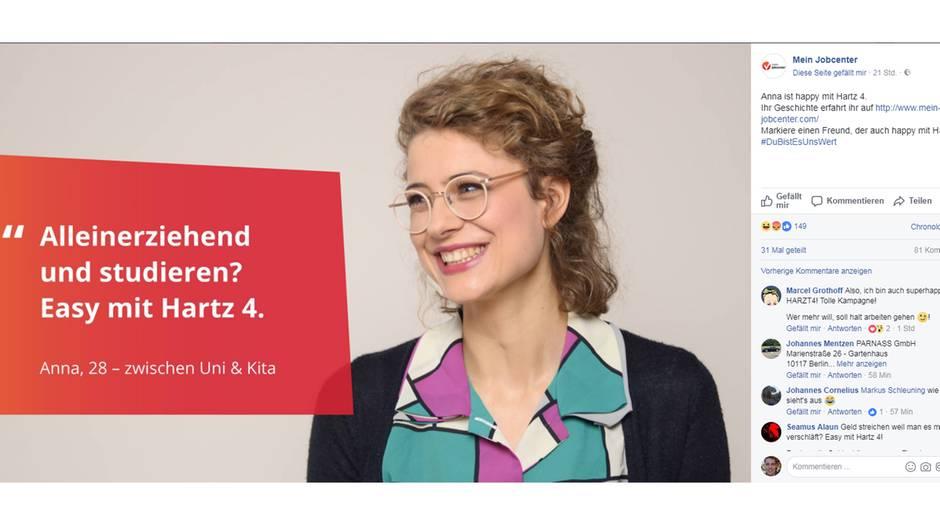 Werbemotiv der Hartz-Kampagne auf Facebook
