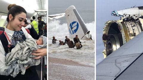 Sturzgeburten und explodierende Triebwerke: Die bizarrsten Flugzeug-Zwischenfälle aus 2017