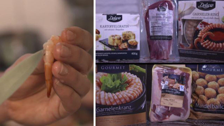 Darmrückstände in Gourmet-Garnelen (links), Hühnerfleisch im Kartoffelgratin. Wie gut sind die Luxus-Produkte vom Discounter?
