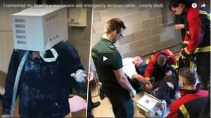 Zwei Bilder zeigen den Briten in der Mikrowelle und seine Retter