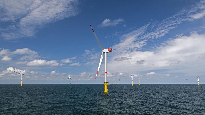 """Offshore Windenergie: Windräder des Offshore-Windparks """"Nordsee 1"""" stehen in der Nordsee vor der ostfriesischen Insel Spiekeroog"""