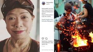 Auf Instagram ist Jay Fai häufig zu sehen: Links ein Portrait von thetravellist_net. Rechts die Köchin (mit Skibrille) in Action von Instagrammer jslim60.